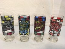 miller lite, pabst, schlitz strohs  stained glass pint bar beer cups set glasses  01711 in Huntington Beach, California