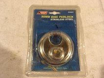 nwt american tool exchange stainless steel 90mm silver key closed disc padlock 02280 in Huntington Beach, California