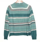 Leslie Fay Sport Mock Neck Stripe Sweater Womens Large Teal Green Ivory Gray in Morris, Illinois