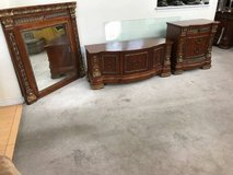 3pc Cherry Finish Low Dresser, Nightstand and Mirror in Chicago, Illinois