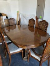 VERY NICE LARGE DINING TABLE, CHAIRS, LEAVES, PROTECTIVE COVER in Wilmington, North Carolina