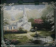 """Thomas Kinkade Wall Tapestry Hanging 34"""" X 30"""" Hometown Chapel in Naperville, Illinois"""