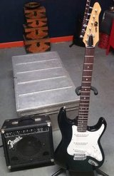Electric Guitar Package Series 10 Black Strat, Fender Amp, Stand +++++ in Lockport, Illinois