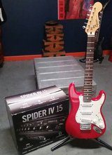 Electric Guitar Package- Squier (Fender) Mini Strat, Line 6 Amp, Stand in Lockport, Illinois