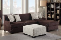 Chocolate Microsuede Loveseat and Chaise Sectional w/ Accent Pillows in Vista, California