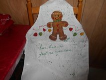 Handmade and Artist Signed Christmas Apron! GINGERBREAD MAN in Spring, Texas