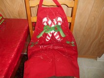 Handmade and Artist Signed Christmas Apron!  CANDY CANES in Spring, Texas