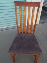 long slat back chair with purple seat in Sacramento, California