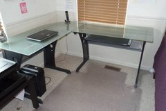 Modern L-Shaped Glass topped Desk in St. Charles, Illinois