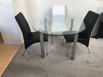4pc Contemporary Round Glass & Leather Dining Set-Black & White in Naperville, Illinois
