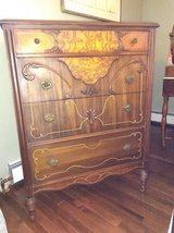 Tall Four Drawer Walnut Dresser in Orland Park, Illinois