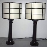 2 Dark Brown Metal Lamps w/Canvas Shades ~ Prairie Style in Orland Park, Illinois