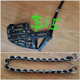 Italian Basket Dog Muzzle size 8 and choke chain in Bellaire, Texas