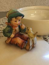 Happy New Year! Genuine Hummel Boy with flute and canary on top of candy dish in Quantico, Virginia