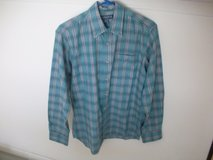 tarleton men's plaid shirt medium bluish green, yellow, burgandy in Plainfield, Illinois