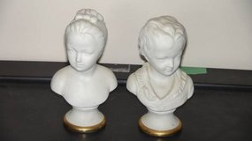 Boy and Girl Busts on Pedestals with Gold Trim in Algonquin, Illinois