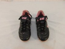 children youth girls nike pink black silver soccer cleats lace up 31173 in Fort Carson, Colorado