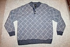Jos. A. Bank Lambswool Sweater, 3-Button Neckline, Navy/Tan Print,  Large in St. Charles, Illinois