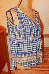 Cold Shoulder Top, Batwing Sleeves, Blue Print, Large in Glendale Heights, Illinois