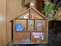 Homemade Wooden Knic-Knac Shelf  with Trinkets!      Football and School Trinkets in Bellaire, Texas