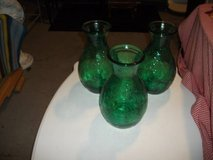 3 GREEN HEAVY GLASS VASES in Tinley Park, Illinois