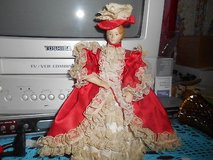 "Vintage Small 8"" Porcelain Doll with Red Lacy Dress and Hat!  Cute in Bellaire, Texas"