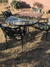 Patio Table- Glass Top, Wrought Iron w/ 4 Chairs in 29 Palms, California