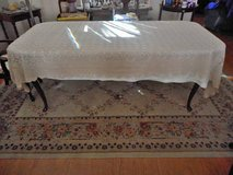 Crochet Table Cloth Scalloped Edge Color ECRU Size 63 x 120 Vintage in Temecula, California