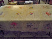 Japanese Tablecloth Fantastic Individual Embroidered Pictures Handmade Vintage in Temecula, California