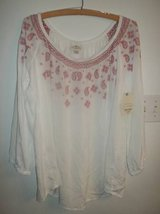 NWT St John's Bay women's white flowy boho peasant blouse tunic top XL in Silverdale, Washington