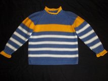 Hanna Andersson Girl 120 (6-8) Blue Yellow Stripe Thick Winter Sweater in Tacoma, Washington