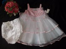 NWT Girls 24M White Tiered Tulle Pink Top Party Wedding Portrait Dress in Tacoma, Washington