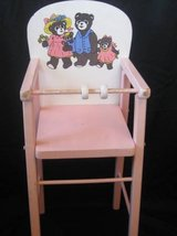 """Vintage Wooden """"Three Bears"""" Baby Doll Pink High Chair in Tacoma, Washington"""