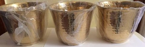 "New 3 Solid Brass Hammered Planter Pot 8"" W Pots in Glendale Heights, Illinois"