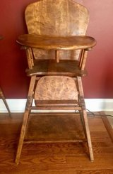 vintage folding wooden high chair converts to toddler chair & attached table in Joliet, Illinois