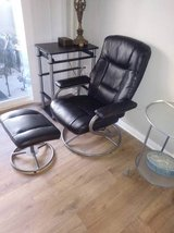 Black leather style reclining chair with stool In Fairfield on 6/16 if you want me to bring this... in Roseville, California