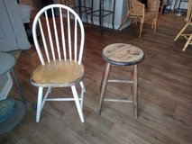 Rustic barstool and farmhouse windsor style chair in Sacramento, California