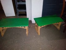 2 green and beige hard plastic gardening arts and crafts plant tables in Sacramento, California