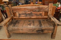 Large Rustic,  Wood Bench in The Woodlands, Texas
