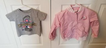 SIZE 4 GIRLS LIGHT PINK CHICAGO CUBS SNAP JACKET AND SHIRT in Elgin, Illinois