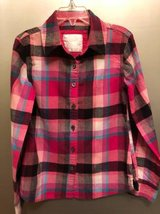 Justice size 6T Girls pink plaid button down shirt in Chicago, Illinois