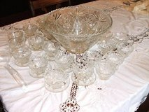 Vintage Large Anchor Hocking Glass Punch Bowl Set, 25 Cups,12 Plates a in Fort Rucker, Alabama