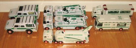 7 HESS Toy Trucks - Rescue - Helicopter - Space Shuttle - Motor Home in Naperville, Illinois
