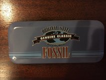 1991 fossil watch tin - 5.5 x 2.5; - genuine classic withfossil ad in Fairfax, Virginia