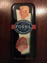 "1994 fossil watch tin - 5.5"" x 2.5"" - fossil ad on cover in Fort Belvoir, Virginia"