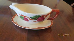 Franciscan Apple Gravy Boat with attached Plate Flying F Interpace Mark USA 1979 in Warner Robins, Georgia