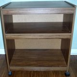 Utility Cart w/wheels - Wood 2 shelf cabinet in Joliet, Illinois