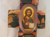 hand made wood carving of jesus on a cross mixed colors 31560 in Fort Carson, Colorado