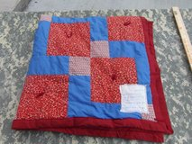 hand made red blue pattern quilt many hands quilting ministry 47in x 47in  31841 in Fort Carson, Colorado