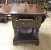 Vintage Wood End Table with 2 Drop Down Leaves in Joliet, Illinois